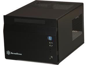SilverStone SG06BB-LITE Black Aluminum front panel, Steel body Mini-ITX Desktop Computer Case