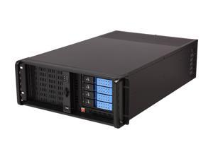 iStarUSA D407NDL-DE4BL Black 4U Rackmount Server Chassis with 4 Trayless Hotswap Bays, No Bezels