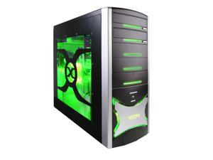 XION Solaris XON-403 Black with Green LED Light Computer Case With Side Panel Window