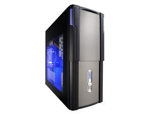 XION Hydraulic XON-566TB Black with Blue LED Light Computer Case With Side Panel Window