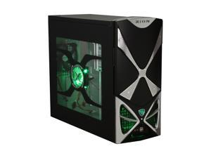 XION XION II Series XON-111 Black with Green LED Light Computer Case With Side Panel Window