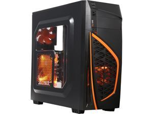 DIYPC Zondda-O Black USB 3.0 ATX Mid Tower Gaming Computer Case with 3 x Orange Fans (1 x 120mm LED Fan x side, 1 x 120mm LED Fan x front, 1 x 120mm fan x rear)