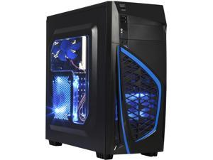 DIYPC Zondda-B ATX Mid Tower Gaming Computer Case Chassis and USB 3.0 (Blue)
