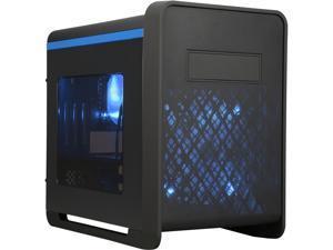 DIYPC Cuboid-B Black USB 3.0 Gaming Micro-ATX Mid Tower Computer Case w/1 x 140mm LED Blue Fan x Front, 1 x120mm LED Blue Fan x rear