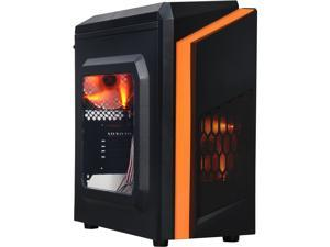DIYPC  DIY-F2-O Black/Orange USB 3.0 Micro-ATX Mini Tower Gaming Computer Case with 2 x Orange LED Fans (Pre-installed)