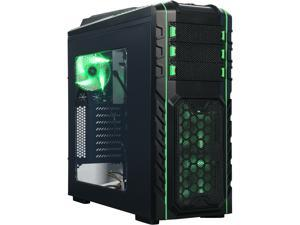 DIYPC Skyline-06-WG Black/Green Dual USB 3.0 ATX Full Tower Gaming Computer Case with 5 x 120mm Green Fans, Hot Swap Docking