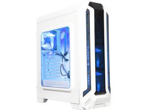 DIYPC Gamestorm-W White Dual USB 3.0 ATX Mid Tower Gaming Computer Case with Build-in 3 x Fans (2 x 120mm Blue LED Fan x Front, 1 x 120mm Blue LED Fan x rear)
