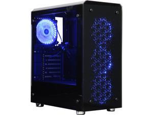 DIYPC IllusionI-BL Black Dual USB3.0 Steel / Tempered Glass ATX Mid Tower Gaming Computer Case w/4 x 120mm Blue 33LED ...