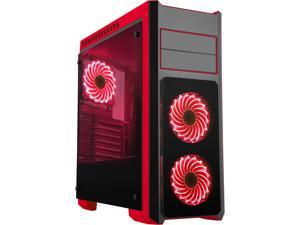 DIYPC DIY-TG8-BR Black/Red Dual USB3.0 Steel/ Tempered Glass ATX Mid Tower Gaming Computer Case w/Tempered Glass Panels (Front, Top and Both Sides) and Pre-Installed 3 x Red 33LED Light Fan