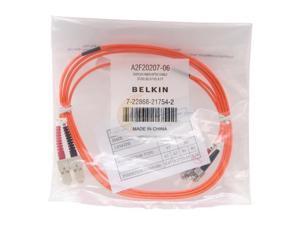Belkin A2F20207-06 6 ft. Multimode Duplex Fiber Patch Cable, SC/ST