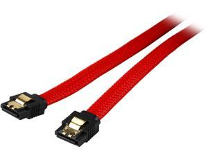 Coboc PR-SATA3-10-LL-RD 10 inch Premium SATA III 6Gbps Data Cable  w/ Gold Plated Locking latch,Red Color Net Jacket,