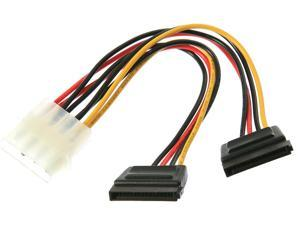 "Rosewill RC-6""-PW-4P-2SA 6"" Molex 4pin Male to Two 15pin SATA Power Cable"