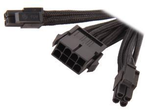 "Silverstone PP07-EPS8B 11.81"" Sleeved Extension Power Supply Cable, 1 x 8pin to EPS12V 8pin(4+4) connector"