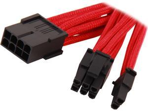 "Silverstone PP07-PCIR 11.81"" Sleeved Extension Power Supply Cable, 1 x 8pin to PCI-E 8pin(6+2) Connector"