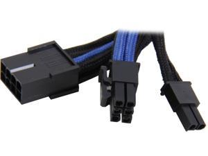 Silverstone PP07-PCIBA 0.82 ft. Sleeved Extension Power Supply Cable with 1 x 8pin to PCI-E 8pin(6+2) Connector - Black/Blue F-M