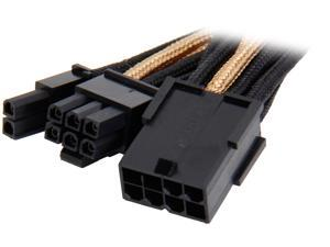 Silverstone PP07-PCIBG 0.82 ft. Sleeved Extension Power Supply Cable with 1 x 8pin to PCI-E 8pin(6+2) Connector - Black/Gold F-M