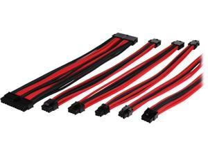 Thermaltake AC-033-CN1NAN-A1 0.98 ft. (All Cables) TtMod Sleeve Extension Power Supply Cable Kit ATX/EPS/8-pin PCI-E/6-pin PCI-E with Combs Red/Black