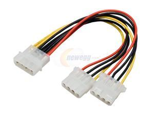 "SYBA CL-CAB65012 5.25"" 4-Pin Male to Dual 4-Pin Female Power Cable - OEM"