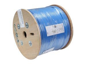 Link Depot C6AU-SOL-BUB 1000ft Cat6a 650 MHz 10G UTP Solid Bulk Ethernet Bare Copper Cable, Riser Rated (CMR), Blue