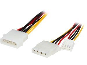 "Cables To Go 03164 10"" One 5-1/4in to One 3-1/2in with One 5-1/4in Internal Power Y-Cable"