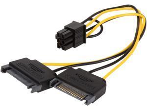 "KINGWIN PCI-04 8"" Black & Yellow Dual 15P SATA Power to 6P PCI Express Power Cable M-M"