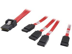 Tripp Lite Model S508-003 3 ft. Internal SAS Cable, 4-Lane mini-SAS (SFF-8087) to 4xSATA 7pin (SFF-8482)