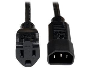 Tripp Lite Model P002-002-10A 2 ft. Black 18AWG SJT, 10A, 125V IEC-320-C14 to NEMA 5-15R Power Cord M-F