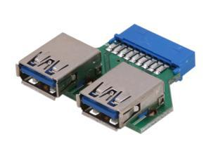 Koutech IO-UU230 USB 3.0 20-Pin ICC to Dual Type-A Adapter