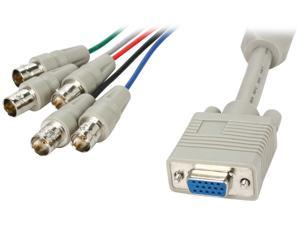 BYTECC Model HD15F/5BNCF-1 1 ft. HD15 to BNCx5 Cable, Female to Female, Beige