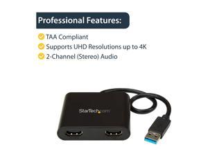 StarTech USB32HD2 StarTech.com USB to Dual HDMI Adapter - 4K - External Video Card - USB to HDMI Adapter - Monitor Adapter - USB 3.0 to HDMI