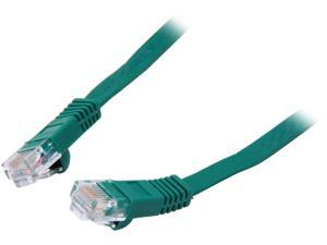 Coboc CY-CAT5E-10-Green 10ft. 30AWG Cat 5E Green Color 350MHz UTP Flat Ethernet Stranded Copper Patch cord /Molded Network lan Cable