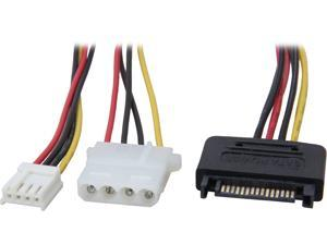 "Coboc Model SC-PWC-MOL-12-SATA 12"" SATA 15-pin Power Male to Molex 4-pin LP4 & Floppy Drive 4-pin SP4 Female Adapter Converter Y Cable"