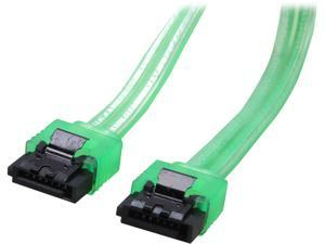 "Coboc Model SC-SATA3-18-LL-GR 18"" SATA III 6Gb/s Data Cable w/Latch,UV Green"