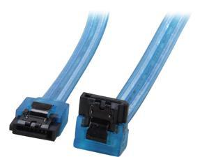 "Coboc Model SC-SATA3-18-LL-BL-90 18"" 90 Degree to 180 Degree Serial ATASATA III 6Gb/s Data Cable w/Latch,UV Blue"