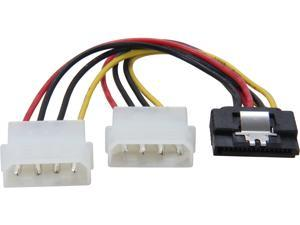 "Coboc SC-PWC-MOL-6-SATA-SS  6"" SATA 15-pin Female with Latch to 2 x Molex 4-pin LP4 Male Y-Splitter Power Adapter Converter Cable"