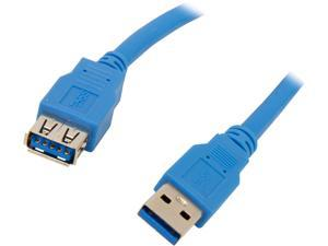 Coboc CY-U3-AAMF-3-BL 3ft SuperSpeed 5Gbps USB 3.0  A Male to A Female Extension Cable,Gold Plated,Blue,M-F