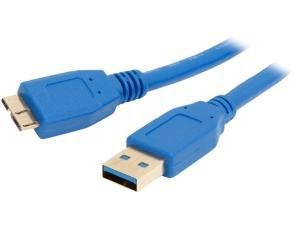 Coboc CY-U3-AMicBMM-10-BL 10 ft. Blue SuperSpeed 5Gbps USB 3.0  A Male to Micro B Male Cable,Gold Plated,Blue