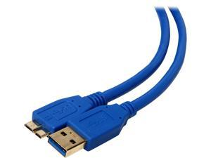 Coboc CY-U3-AMicBMM-15-BL 15 ft. Blue SuperSpeed 5Gbps USB 3.0  A Male to Micro B Male Cable,Gold Plated,Blue