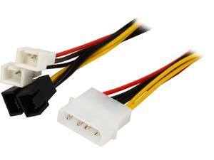 "Coboc LP44TX3-6 6"" 4-pin Molex LP4 to 3-pin TX3 Multi-Fan Power Adapter Converter Cable,2x5V/2x12V Male to Male"