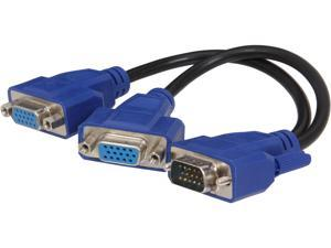 VCOM VC-VGAYSPL Moniter Y Splitter Black Cable with Blue Connector Male VGA  to 2 Female VGAs