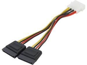 "Nippon Labs POW-S6800-6IN 6"" 5.25 Male to SATA x 2 Internal DC adaptor Cable F-M"