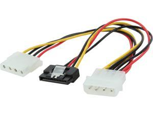 "Nippon Labs SATA4PMF-Y4PMM 8"" 4pin MOLEX Male to 15pin SATA II and 4pin MOLEX Female Power Cable"