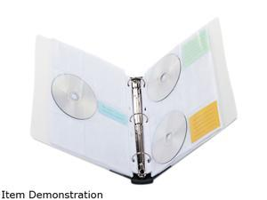 Cd/Dvd Three-Ring Refillable Binder, Holds 90 Disks, Clear/Midnight Bl
