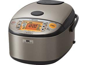 Zojirushi NP-HCC10XH 5.5 cups & 1 L Induction Heating System Rice Cooker and Warmer, Stainless Dark Gray