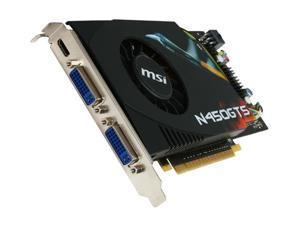 MSI GeForce GTS 450 (Fermi) DirectX 11 N450GTS-M2D1GD5 1GB 128-Bit GDDR5 PCI Express 2.0 x16 HDCP Ready SLI Support Video Card