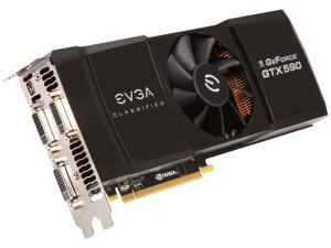 EVGA GTX 590 CLASSIFIED Limited Edition 3GB 768-bit GDDR5 PCI express 2.0 x16, 3xDual-Link DVI, DisplayPort,  HDCP Ready, QUAD SLI Ready, PhysX, 3D Vision Surround Support Video Card