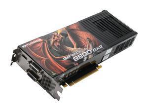ECS GeForce 9800 GX2 DirectX 10 N9800GX2-1024PX-F 1GB (512MB per GPU) 512-bit (256-bit per GPU) GDDR3 PCI Express 2.0 x16 HDCP Ready SLI Support Video Card