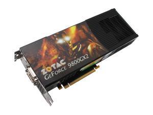 ZOTAC GeForce 9800 GX2 DirectX 10 ZT-98TEY2P-FSP 1GB (512MB per GPU) 512-bit (256-bit per GPU) GDDR3 PCI Express 2.0 x16 HDCP Ready SLI Support Video Card
