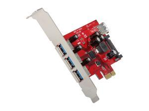 Koutech 4-Port USB 3.0 PCI Express (x1)  with 15-pin SATA Power Connector Model IO-PEU430