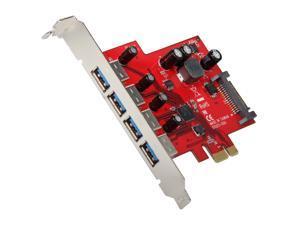 Koutech 4-Port USB 3.0 PCI Express (x1) (4x Ext) with 15-pin SATA Power Connector Model IO-PEU436